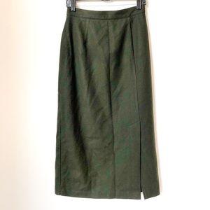 Vintage Hunter Green Wool Skirt